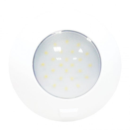 Aqua LED Dome light, round, with switch, 4.8W, 12/24V DC Multivolt