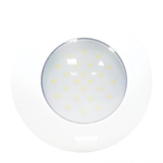 Aqua LED Dome light, round, with switch, 4.8W, 12/24V DC Multivolt