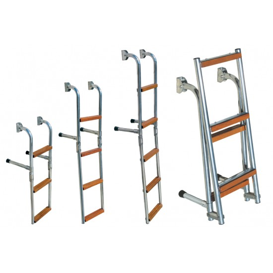 Boarding Ladder, 4-step, Foldable, Stainless Steel