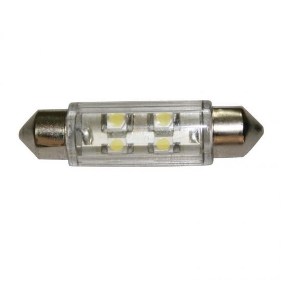 Bulb 12V, LED, T11 39mm, cool white - 2x4 LEDs 360deg