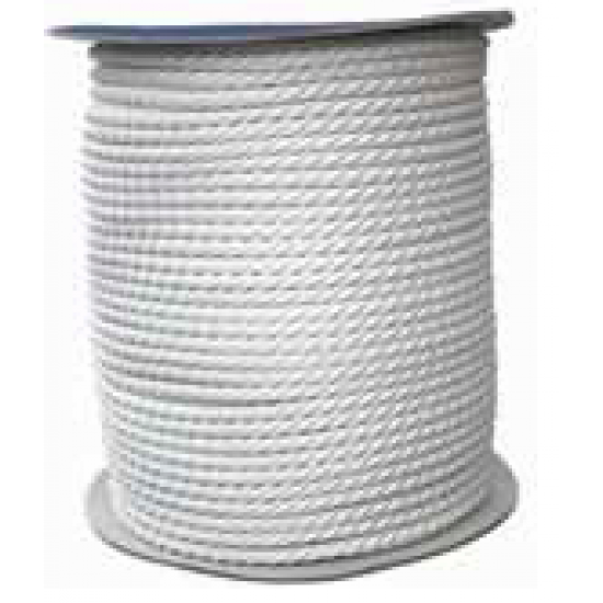 Mooring Rope, 3 Strand , double twisted, Polyester, white, per meter 8mm to 20mm