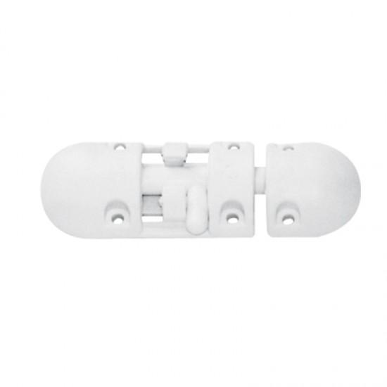 Barrel Bolt, Anti-Rattle, Plastic, White