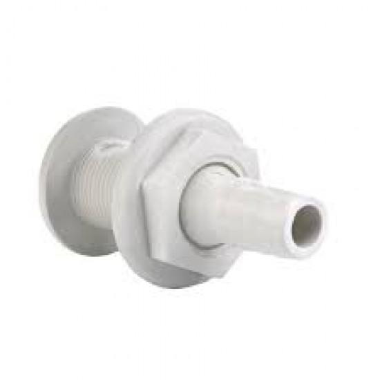 Thru-Hull w/Fl.Flange, 1'' f/Hose Ø25mm, L81mm, White