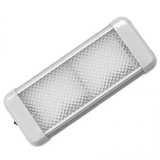 Aqua LED Dome light, rectangular, with switch, 9.6W, 12/24V DC Multivolt