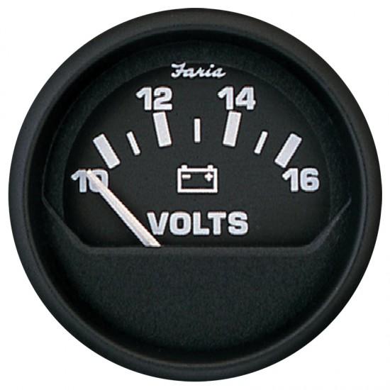 "Voltmeter, Faria, Euro Black, 10-16 VDC, 2""/53mm"