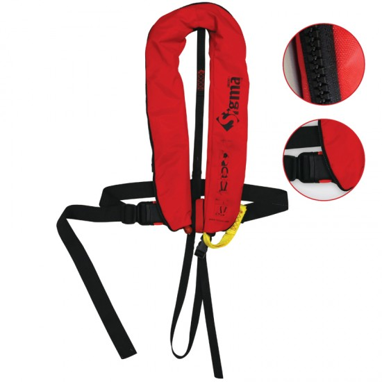 Sigma Auto Lifejacket 170N, ISO 12402-3 plastic buckle with harness and zipper, Red