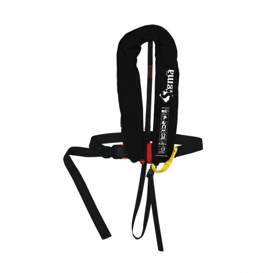 Sigma Auto Lifejacket 170N, ISO 12402-3 plastic buckle with harness and zipper, Black