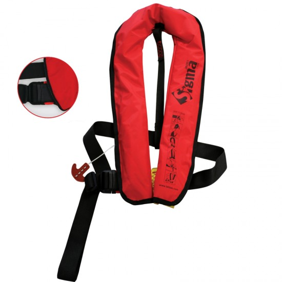 Sigma Auto Lifejacket 170N, ISO 12402-3, Plastic buckle, Red