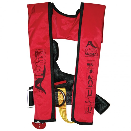 Alpha Auto Lifejacket 170N, ISO 12402-3, Red with Harness