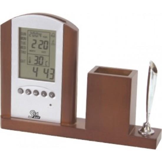 Digital clock & pen holder, SeaNAV, L 187 mm, W 35 mm, H 135 mm