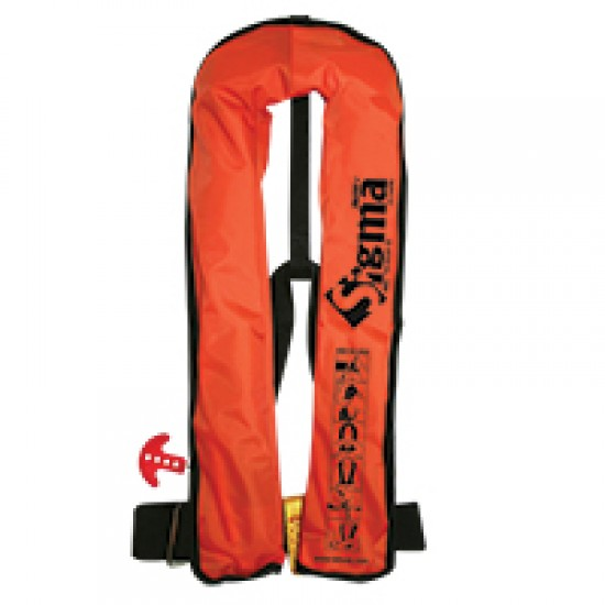 Sigma Work Vest Auto Lifejacket 170N, ISO 12402-3, Orange durable PVC fabric cover