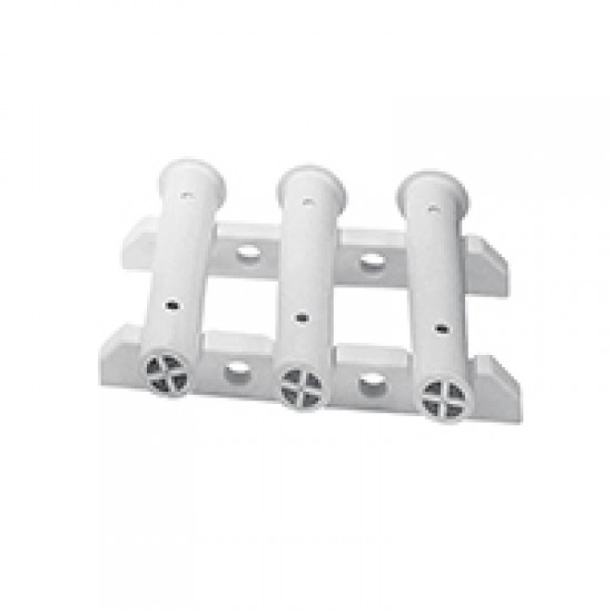 Rod Storage Rack for 3 Fishing Rods, Bulkhead, mount, White