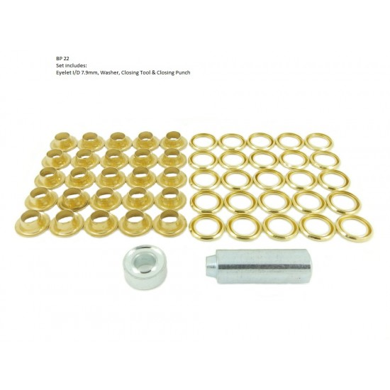 Brass Eyelet and Washer, 8.0mm blister pack repair kit