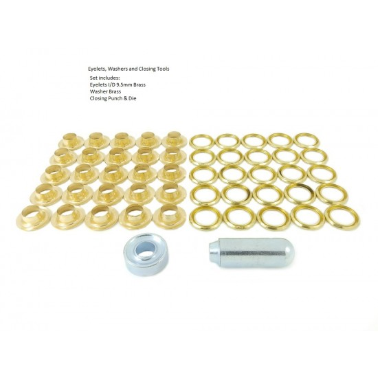 Brass Eyelet and Washer, 9.5mm blister pack repair kit