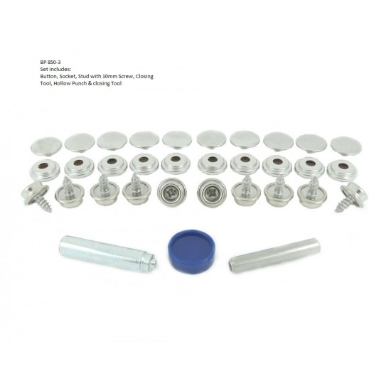 Brass Nickel Press Stud Fastener Kit for Fabric to Wood Application