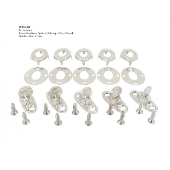 Brass Nickel Plated Turn-button Fastener Kit, 6mm