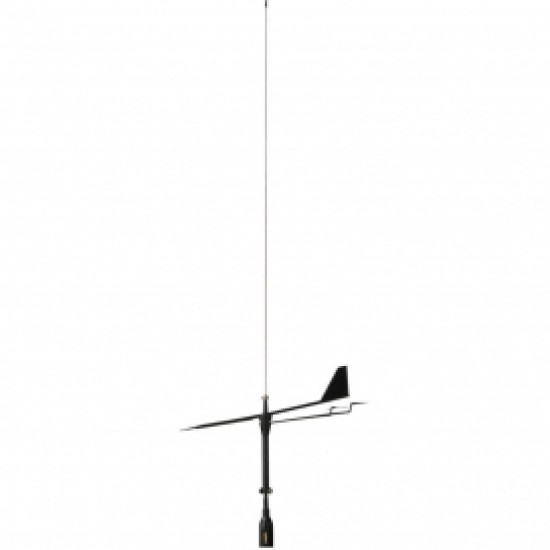 Supergain Black Swan - 860Mm Universal Vhf Antenna - S/S Whip With Wind Indicator - 3Db 20M Cable With Bracket