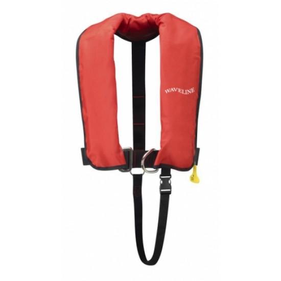 Waveline 150N ISO Auto LifeJacket Kids Harness-Red