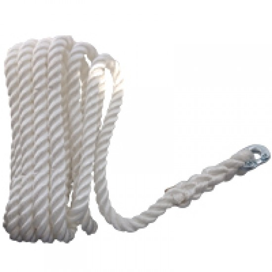 CABO Rope for chain rode use, 3 strand with connection 8mm, Diam. 14mm L30m, Nylon, white
