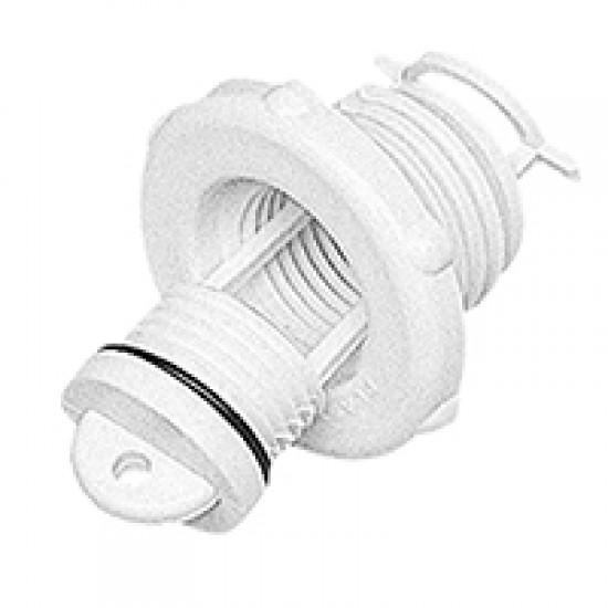 Drain Socket Captive Plug 46mm round with O-Ring, white