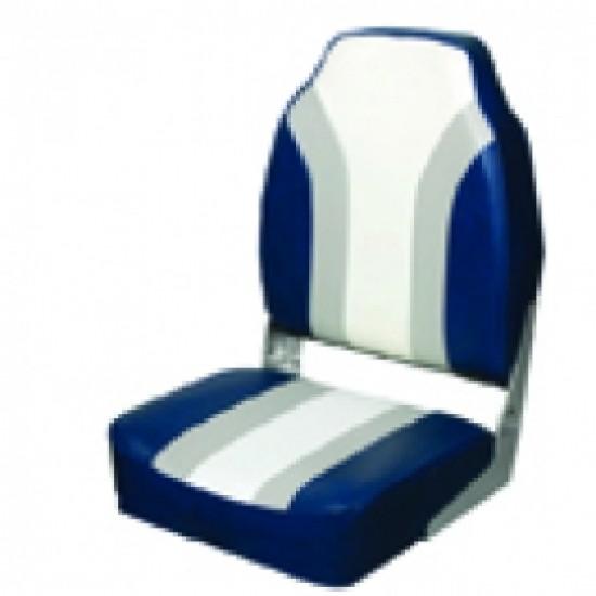 Boat Seat High back Folding Seat Grey/Blue/White