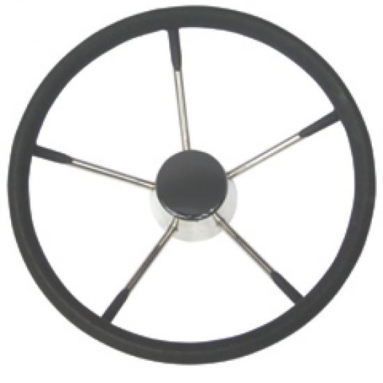 Steering wheel, stainless steel with black foam, Diameter: 390mm