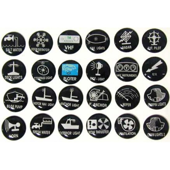 Self-adhesive function labels for switch panels - set of 24pcs