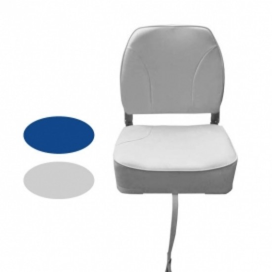 Boat Seat Deluxe Low Back Folding Seat S/S 316 Fittings Navy or White