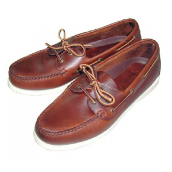 Deck shoes ''Skipper'' Brown leather and White sole, Size 43