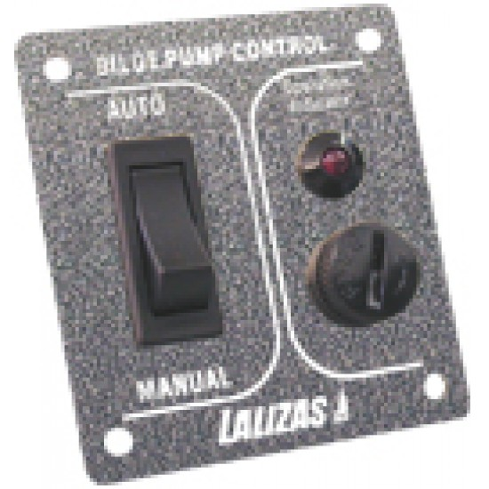 Switch for Pump ON-OFF-MON, w/ light, Inox 316, charcoal, 12/24V
