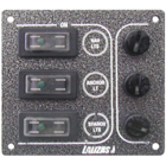 Switch Panel 'SP3 Offshore', 3 waterproof switches, w/Led/3auto fuses, 120x110mmx1, 5mm